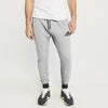Adidas Single Jersey Slim Fit Jogger Trouser For Men-Grey Melange With Charcoal & Grey Stripe-BE8843