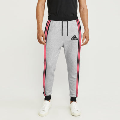 Adidas Single Jersey Slim Fit Jogger Trouser For Men-Grey Melange With Charcoal Melange & Pink Melange Stripe-BE8845