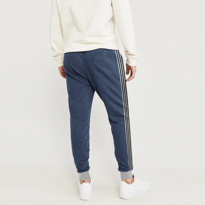 Adidas Single Jersey Slim Fit Jogger Trouser For Men-Navy Melange With Grey & Black Stripe-BE8807