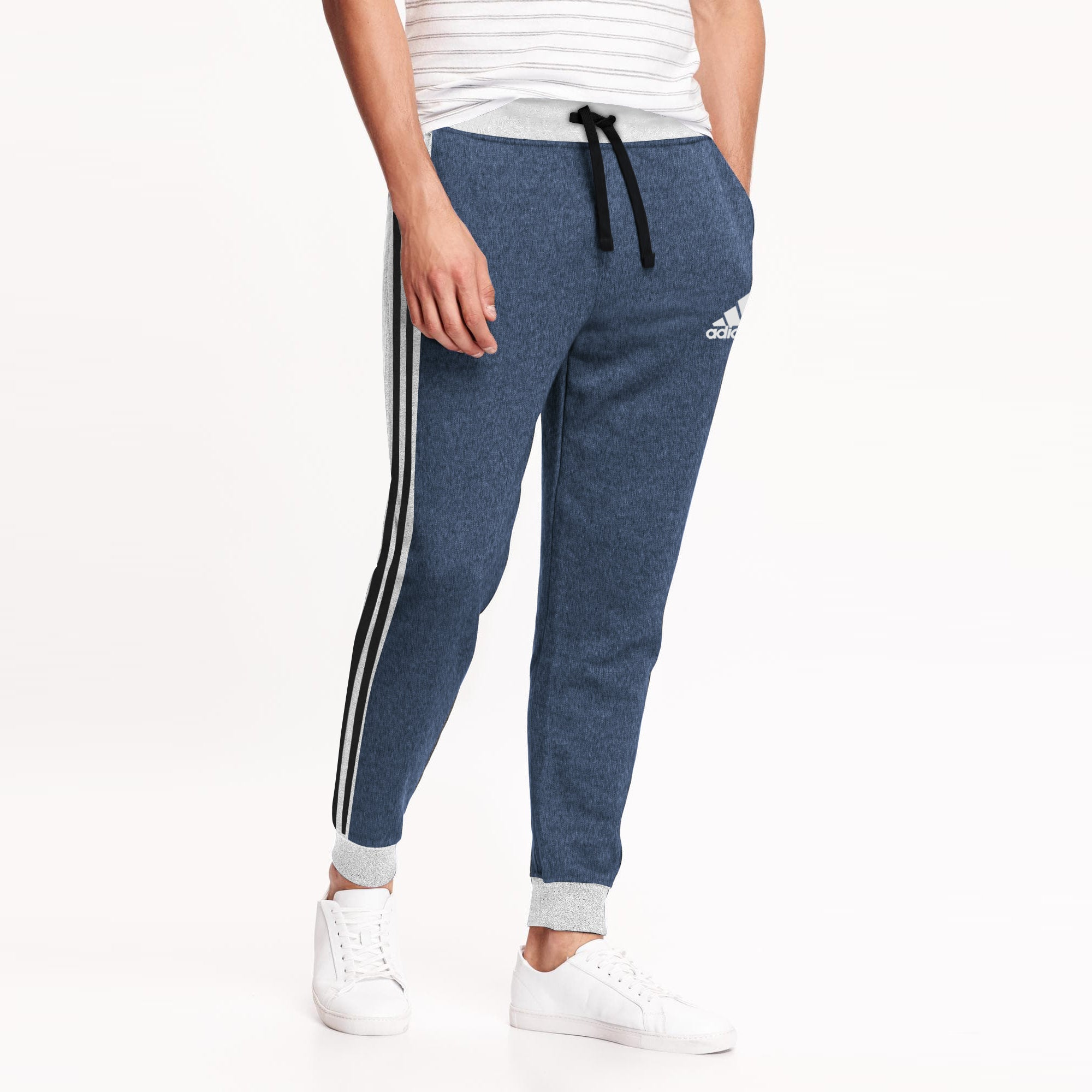 Adidas Single Jersey Slim Fit Jogger Trouser For Men-Navy Melange With Grey Melange & Black Stripe-BE8848