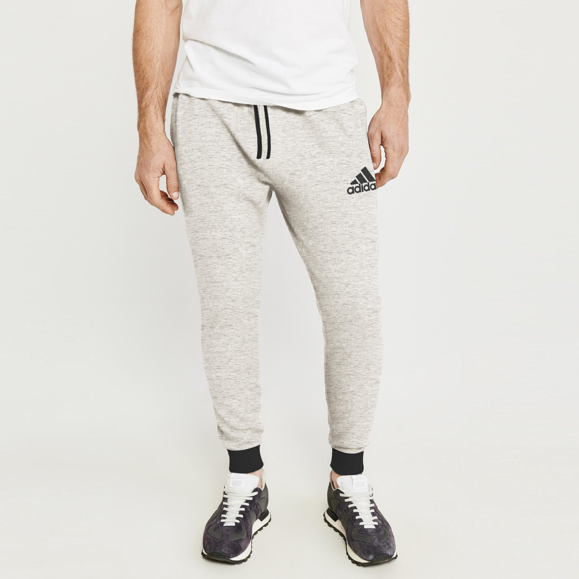 Adidas Single Jersey Slim Fit Jogger Trouser For Men-Off White Melange With Charcoal & Pink Melange Stripe-BE8870
