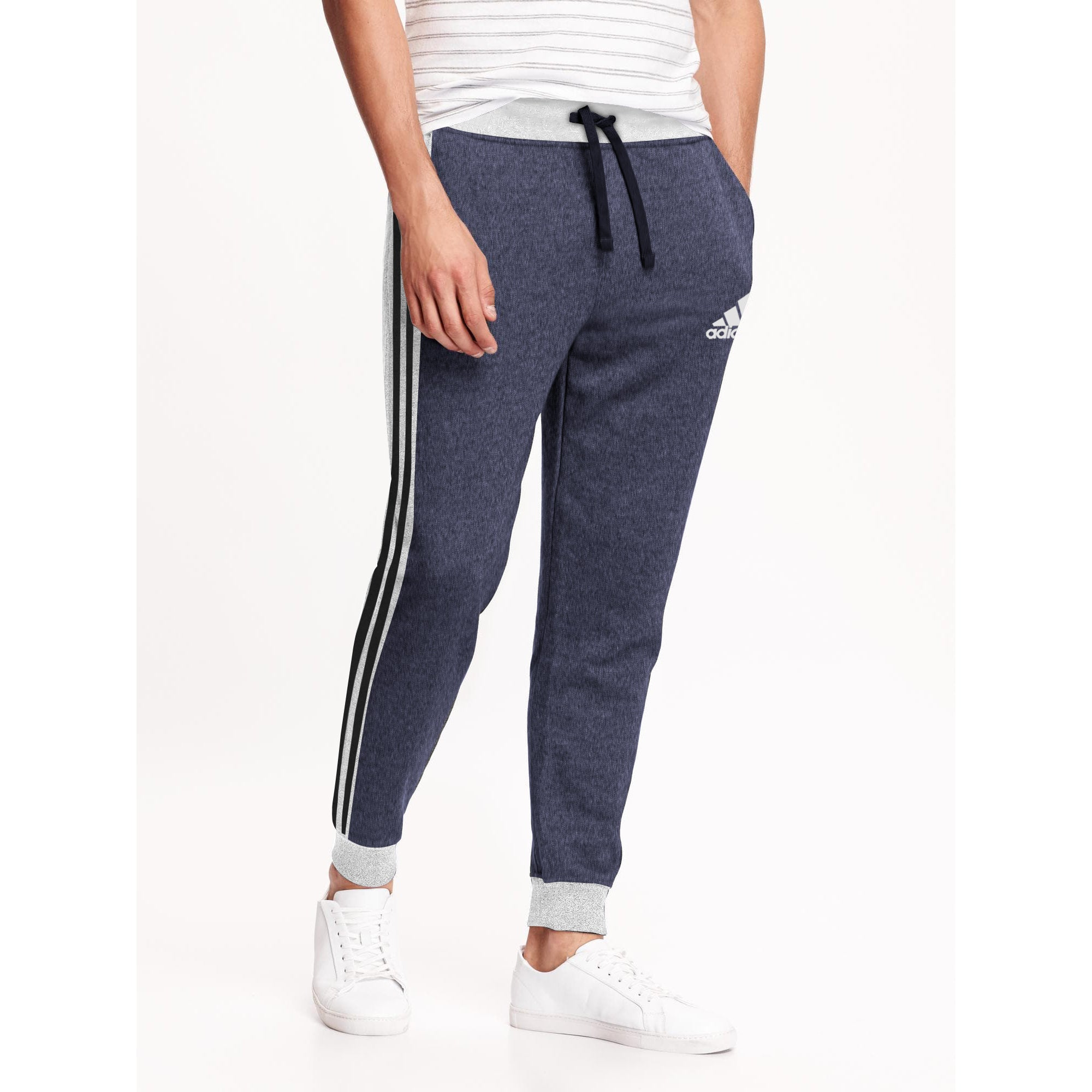 Adidas Single Jersey Slim Fit Jogger Trouser For Men-Purple Melange With Grey Melange & Black Stripe-BE8846