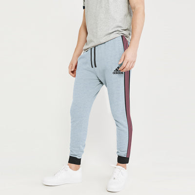 Adidas Single Jersey Slim Fit Jogger Trouser For Men-Sky Melange With Charcoal & Stripe-BE8840