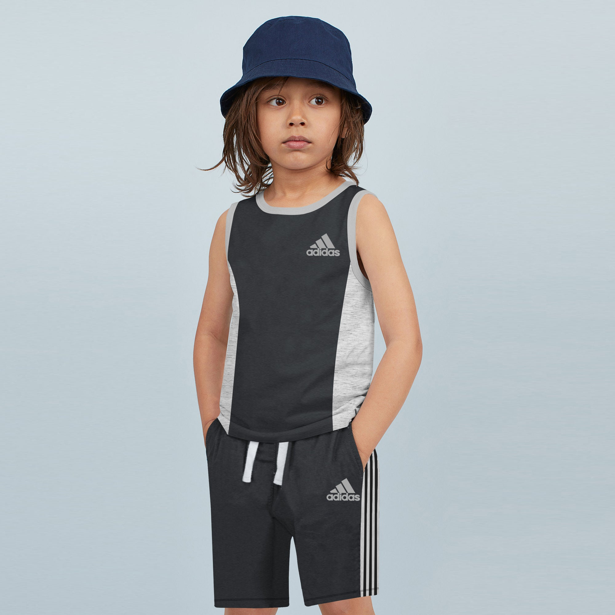 Adidas Single Jersey Sport Suit For Kids-Charcoal Melange & Grey Melange-BE8867