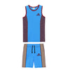 brandsego - Adidas Single Jersey Sport Suit For Kids-Dark Blue & Maroon Melange with Skin Stripe-BE9587