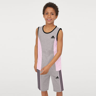 brandsego - Adidas Single Jersey Sport Suit For Kids-Dark Grey Melange & Pink Melange-BE8931