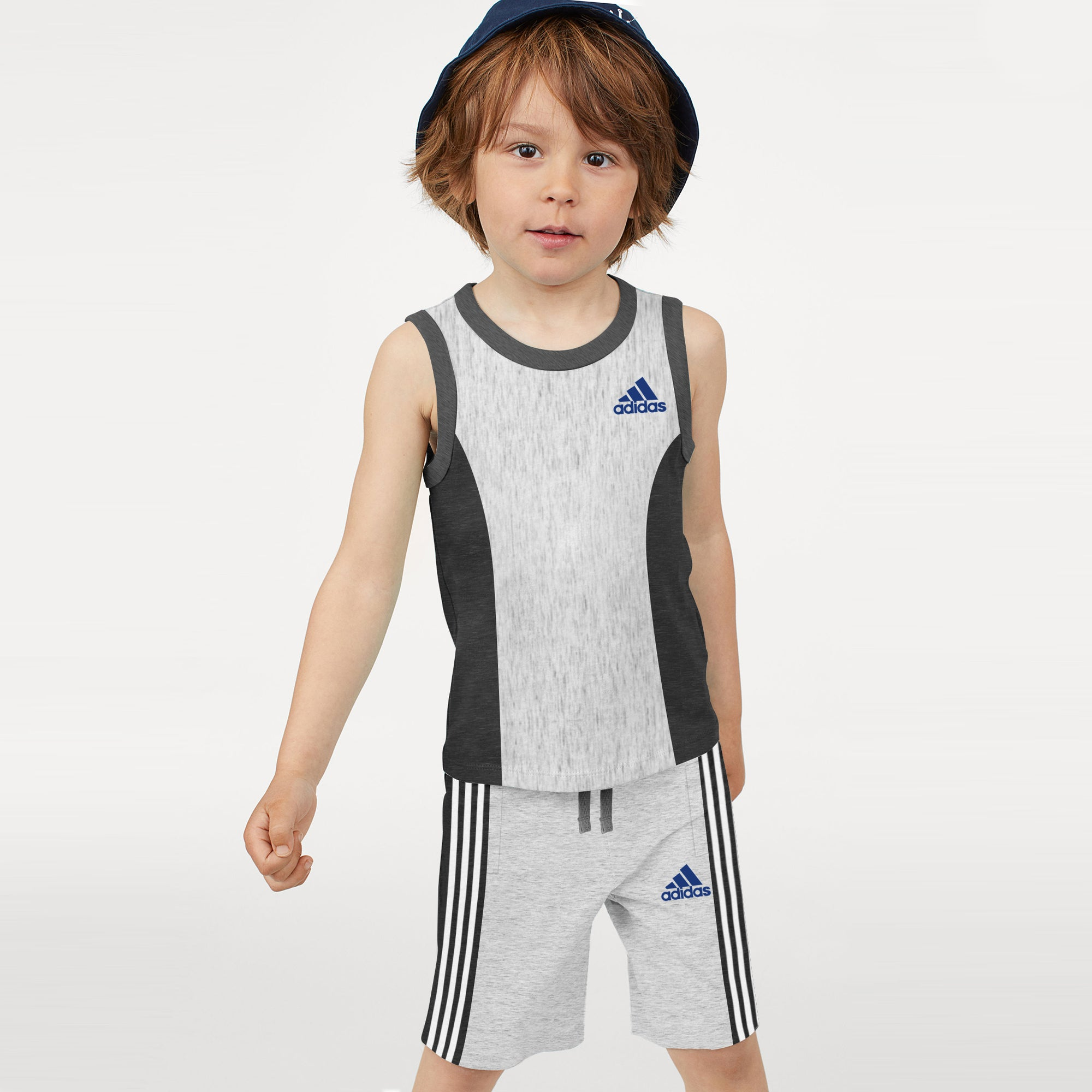 Adidas Single Jersey Sport Suit For Kids-Grey & Charcoal Melange with White Stripe-BE9435