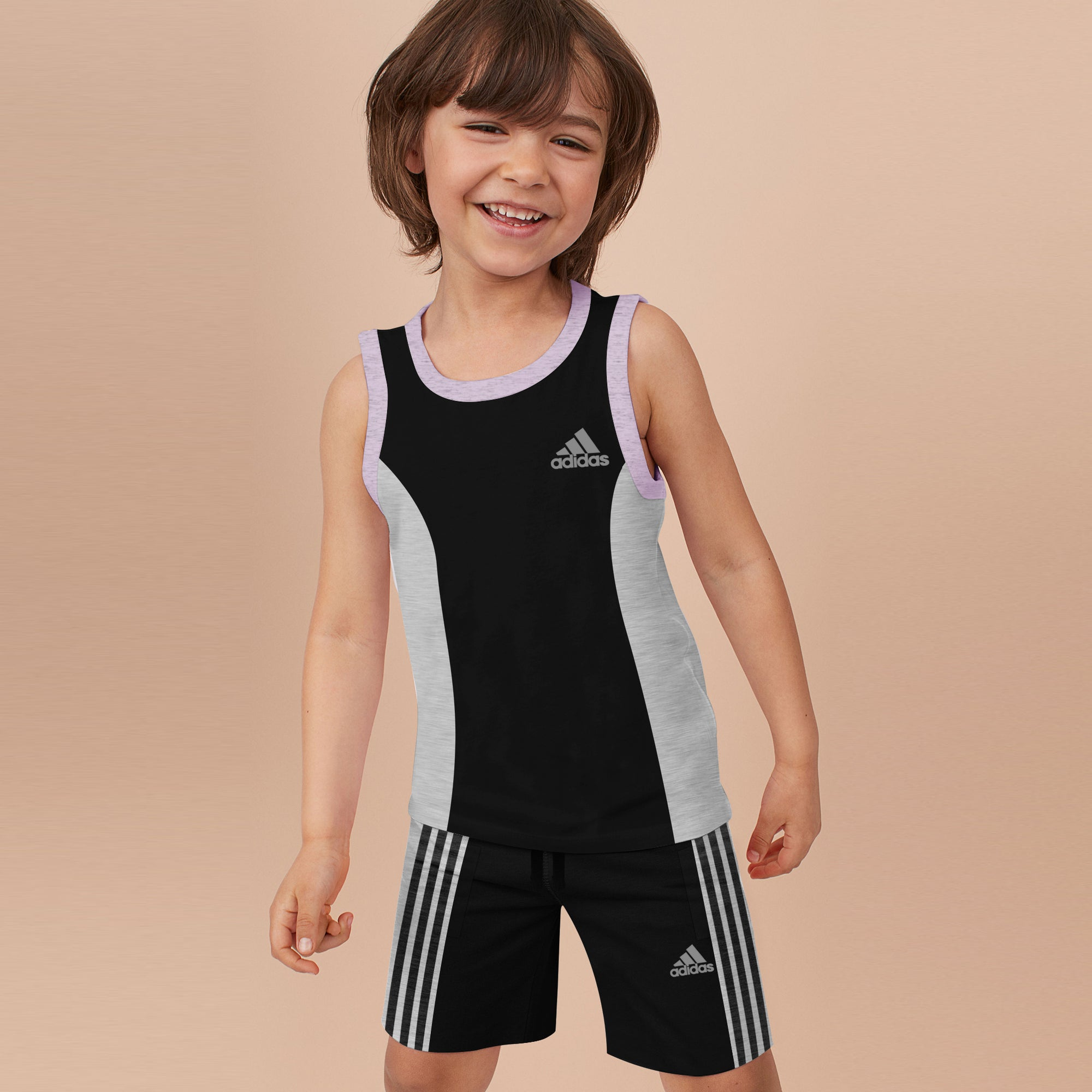 Adidas Single Jersey Sport Suit For Kids-Black with Grey Melange-BE8995