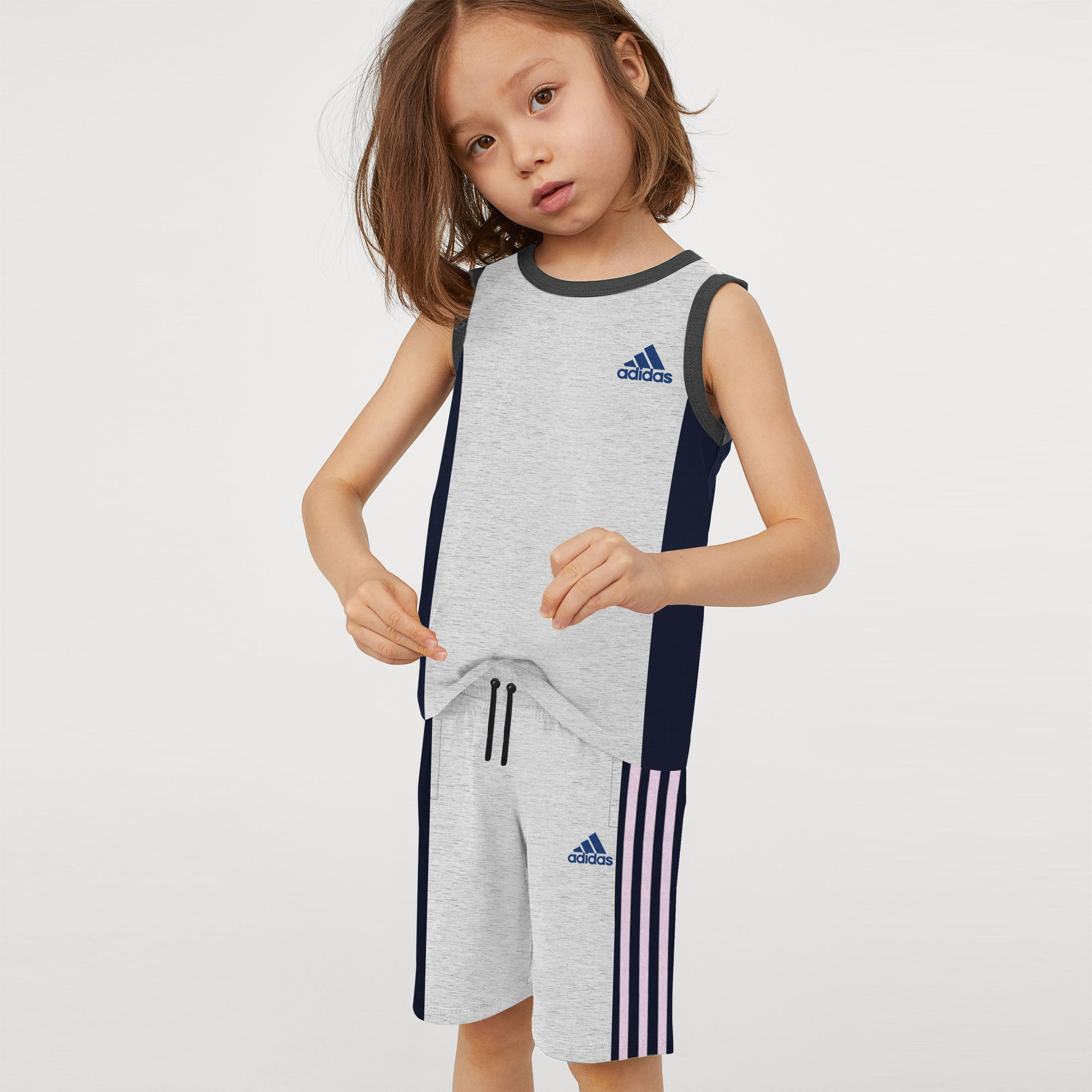 Adidas Single Jersey Sport Suit For Kids-Grey Melange & Navy-BE9013