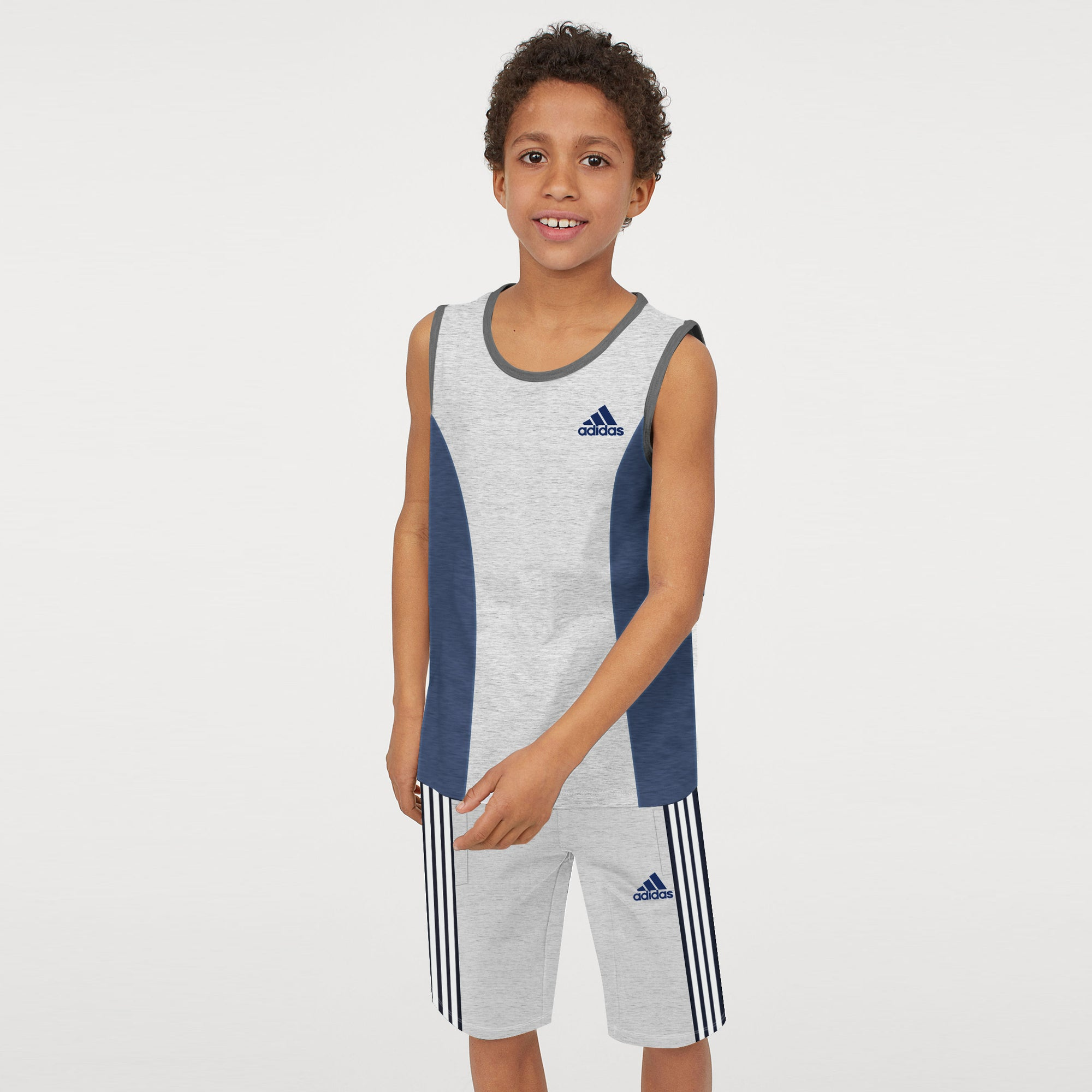 Adidas Single Jersey Sport Suit For Kids-Grey & Navy Melange with White Stripe-BE9436