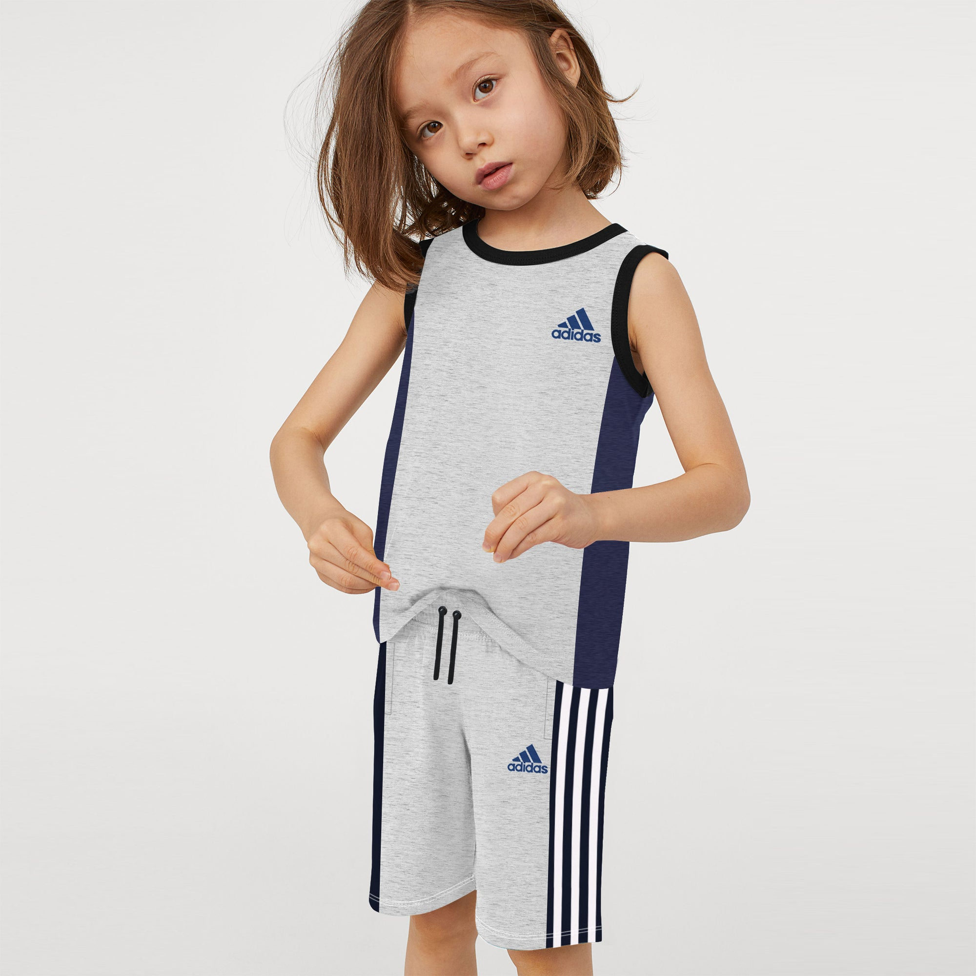 Adidas Single Jersey Sport Suit For Kids-Grey & Purple Melange with White Stripe-BE9437