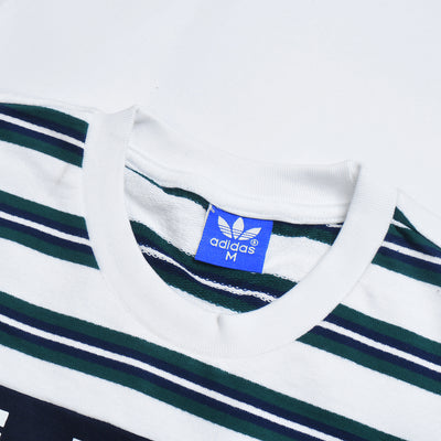 Adidas Crew Neck Tee Shirt For Men-White with Stripe-BE11598