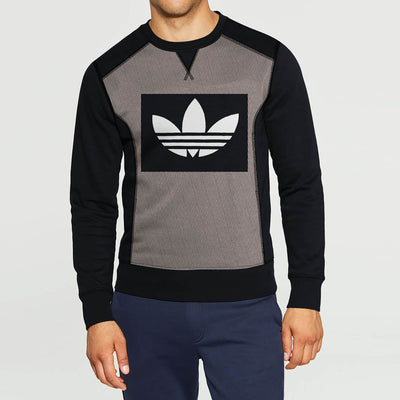 Adidas Fleece Printed Logo Sweatshirt For Men-Black & Brown Dotted Melange-BE10965