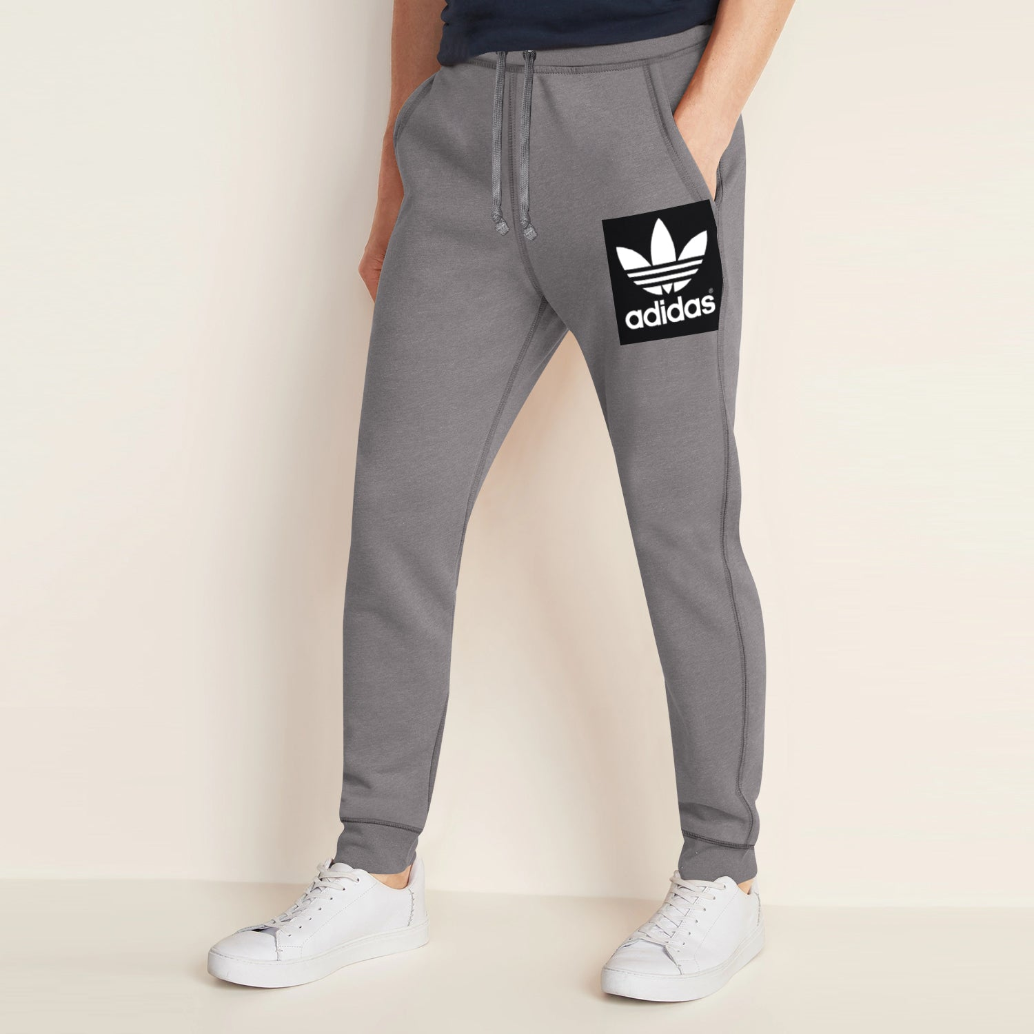 Adidas Fleece Slim Fit Jogger Trouser For Men-Pale Grey-BE10764
