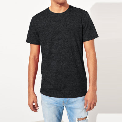 brandsego - Air Walk Crew Neck Single Jersey Tee Shirt For Men-Charcoal Melange-BE8185