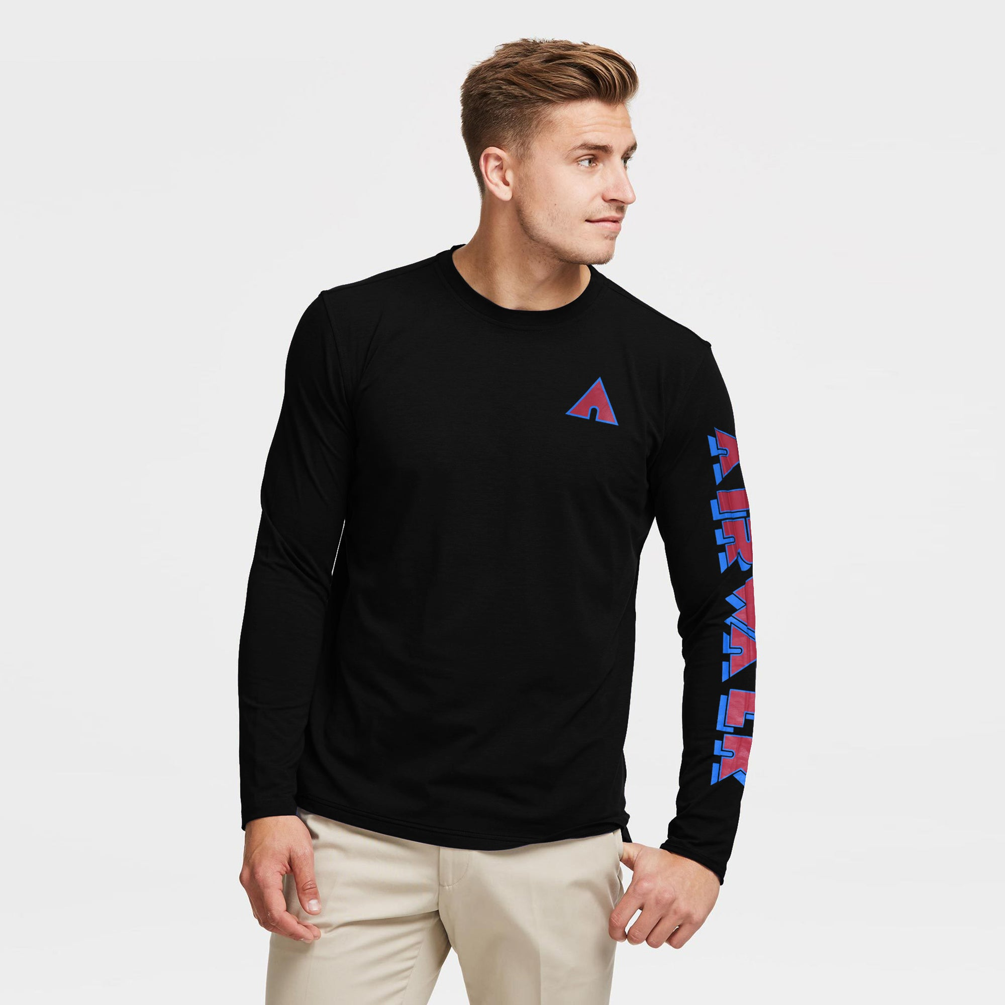 Air Walk Single Jersey Long Sleeve Tee Shirt For Men-Black-BE8891