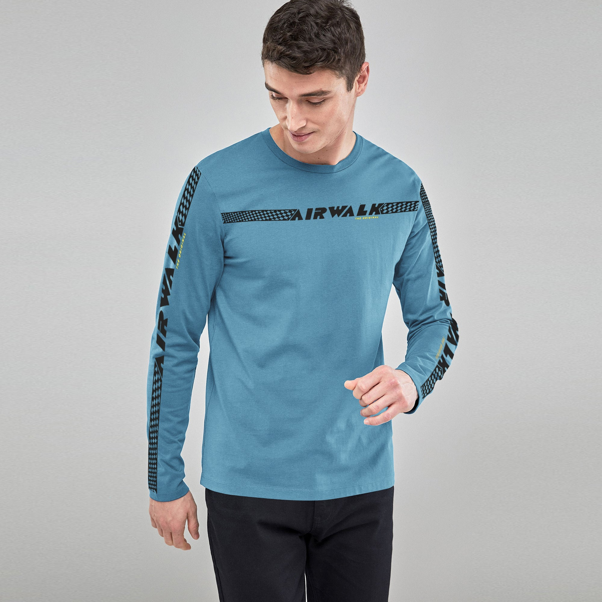 Air Walk Single Jersey Long Sleeve Tee Shirt For Men-Dark Sky-BE8892