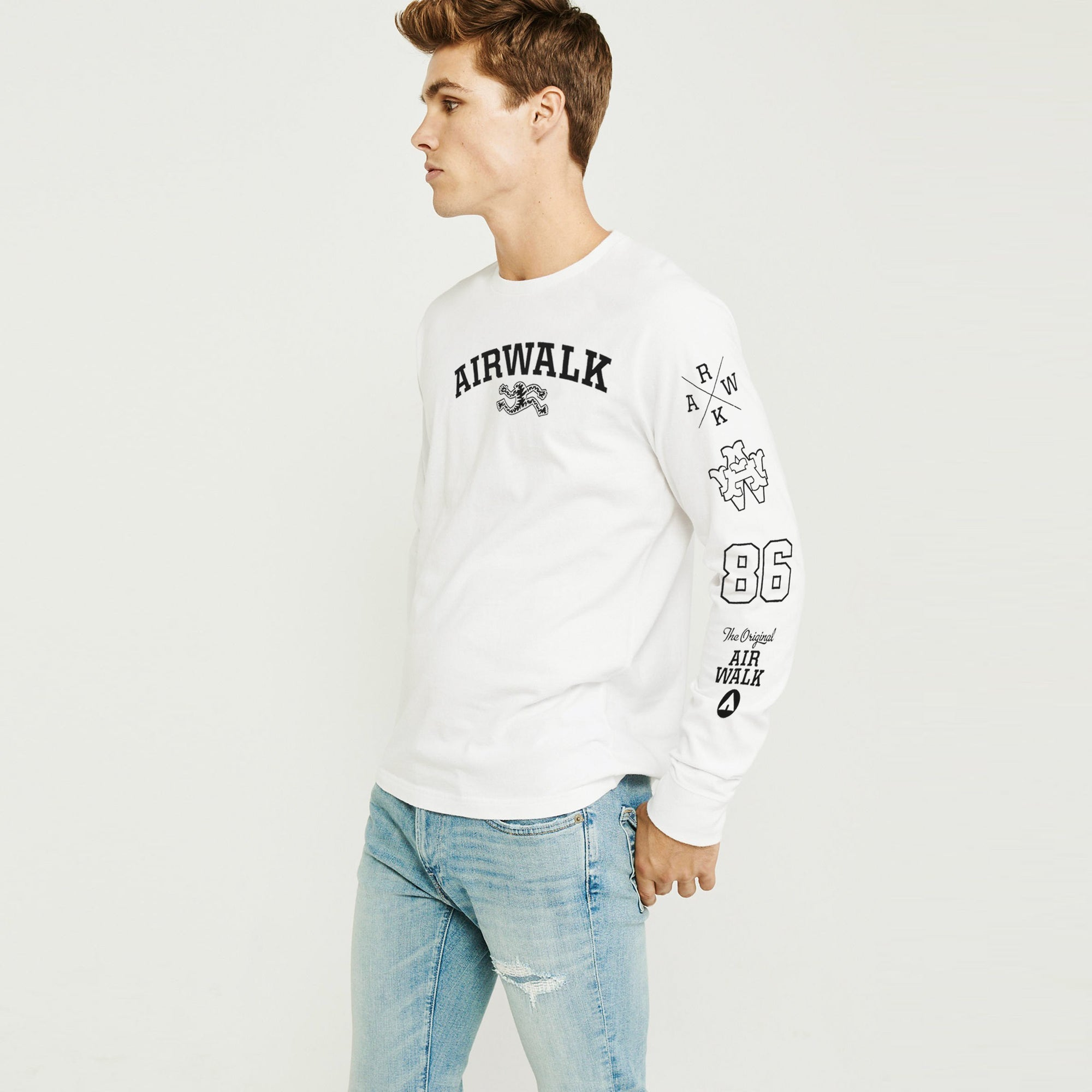 Air Walk Single Jersey Shirt For Men-Off White-BE8169
