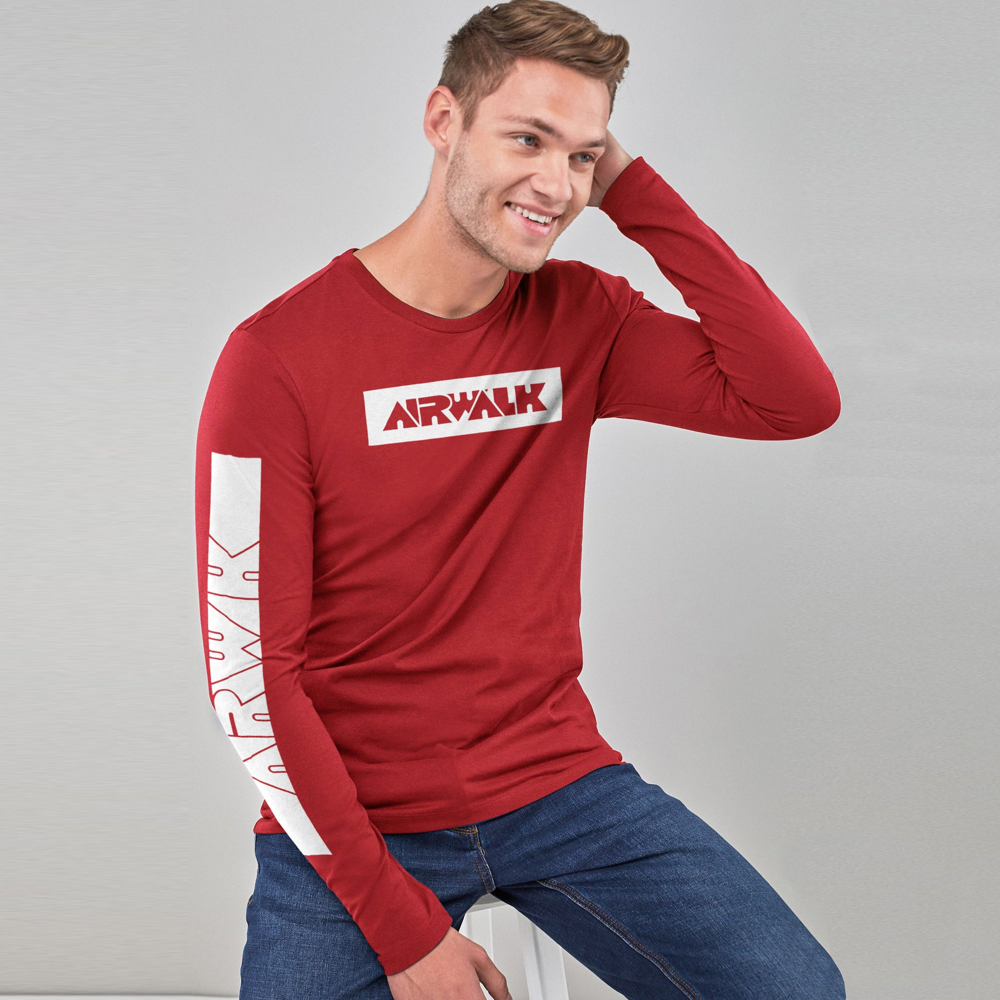 Air Walk Single Jersey Shirt For Men-Red-BE8144