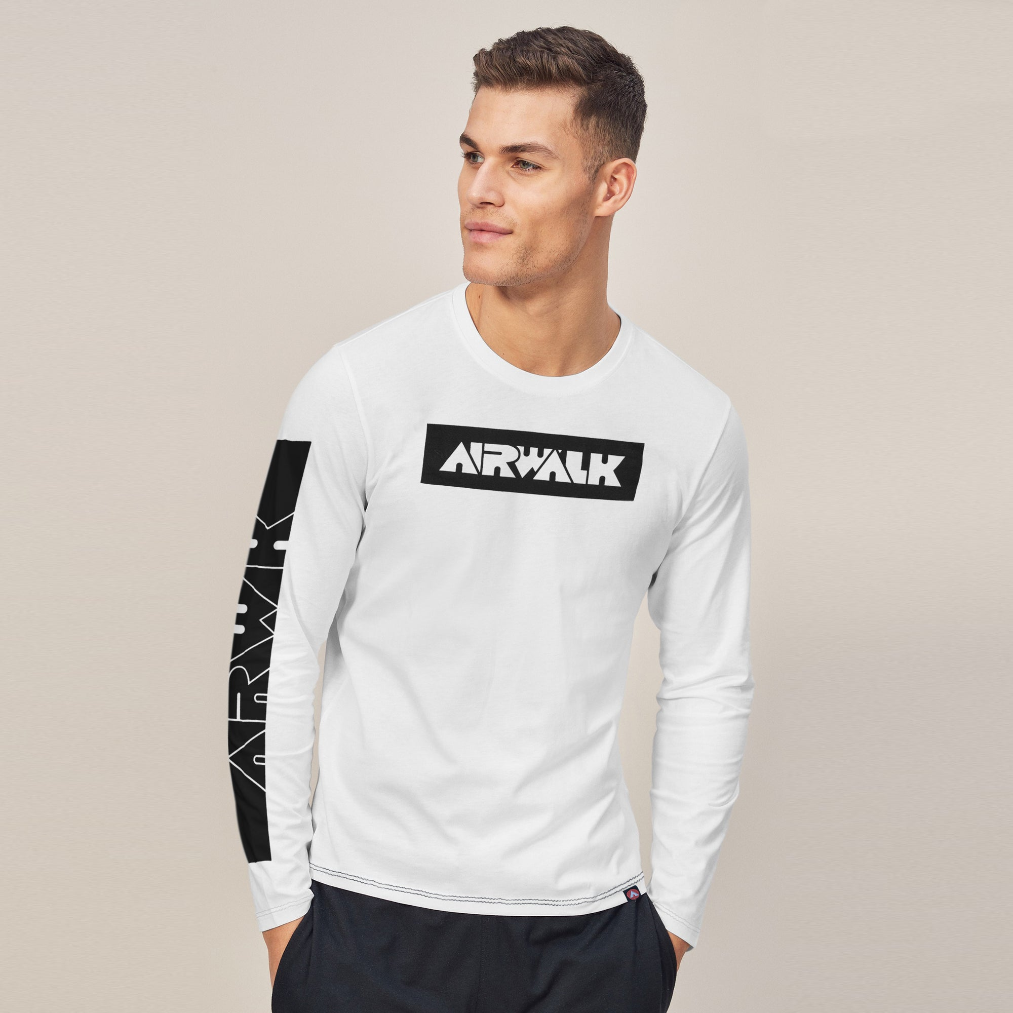 Air Walk Single Jersey Shirt For Men-White-BE8143