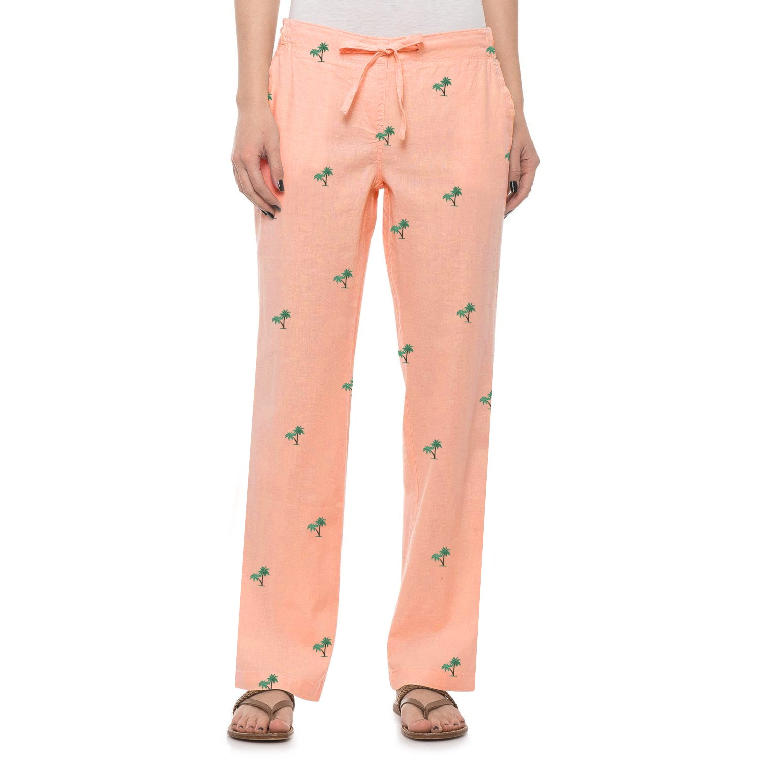 Next Straight Fit Single Jersey Trouser For Ladies-Allover Print Light Peach-NA8732
