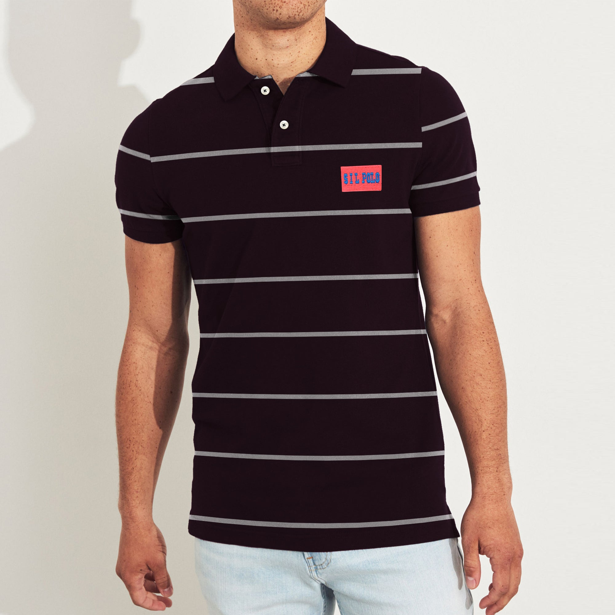 American Eagle Cut Label Short Sleeve P.Q Polo Shirt For Men-Dark Maroon & White Stripe-BE8615