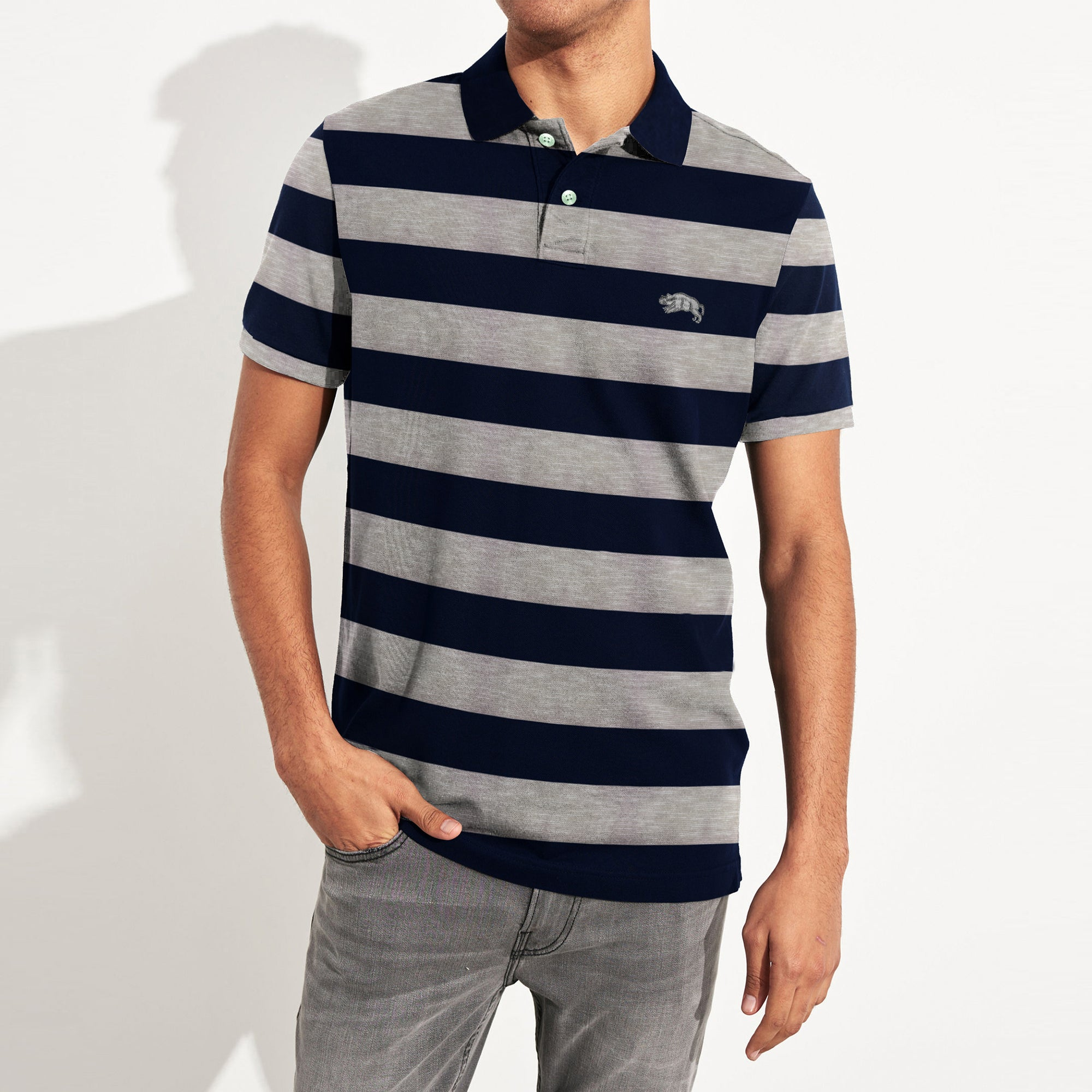 American Rag Short Sleeve Single Jersey Polo Shirt For Men-Dark Navy & Skin Stripe-SP036