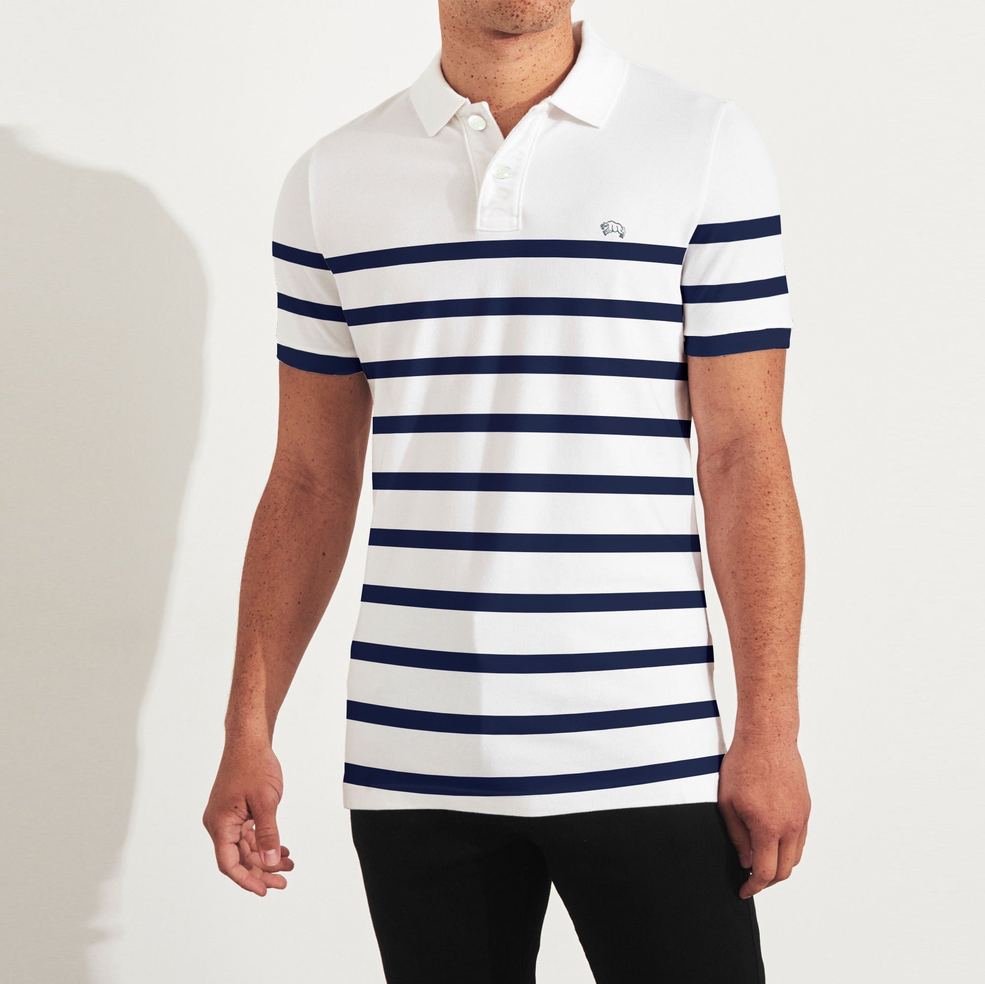 American Rag Short Sleeve Single Jersey Polo Shirt For Men White With Dark Navy Stripe Sp032