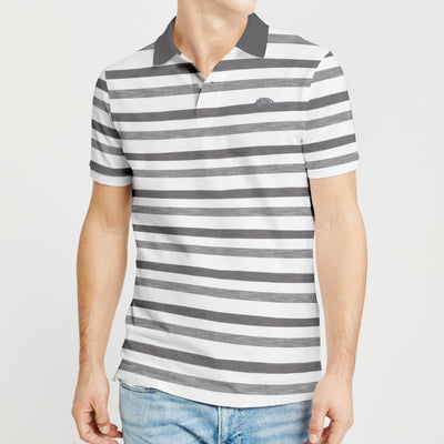 brandsego - American Rag Short Sleeve Single Jersey Polo Shirt For Men-White with Stripe-BE8435