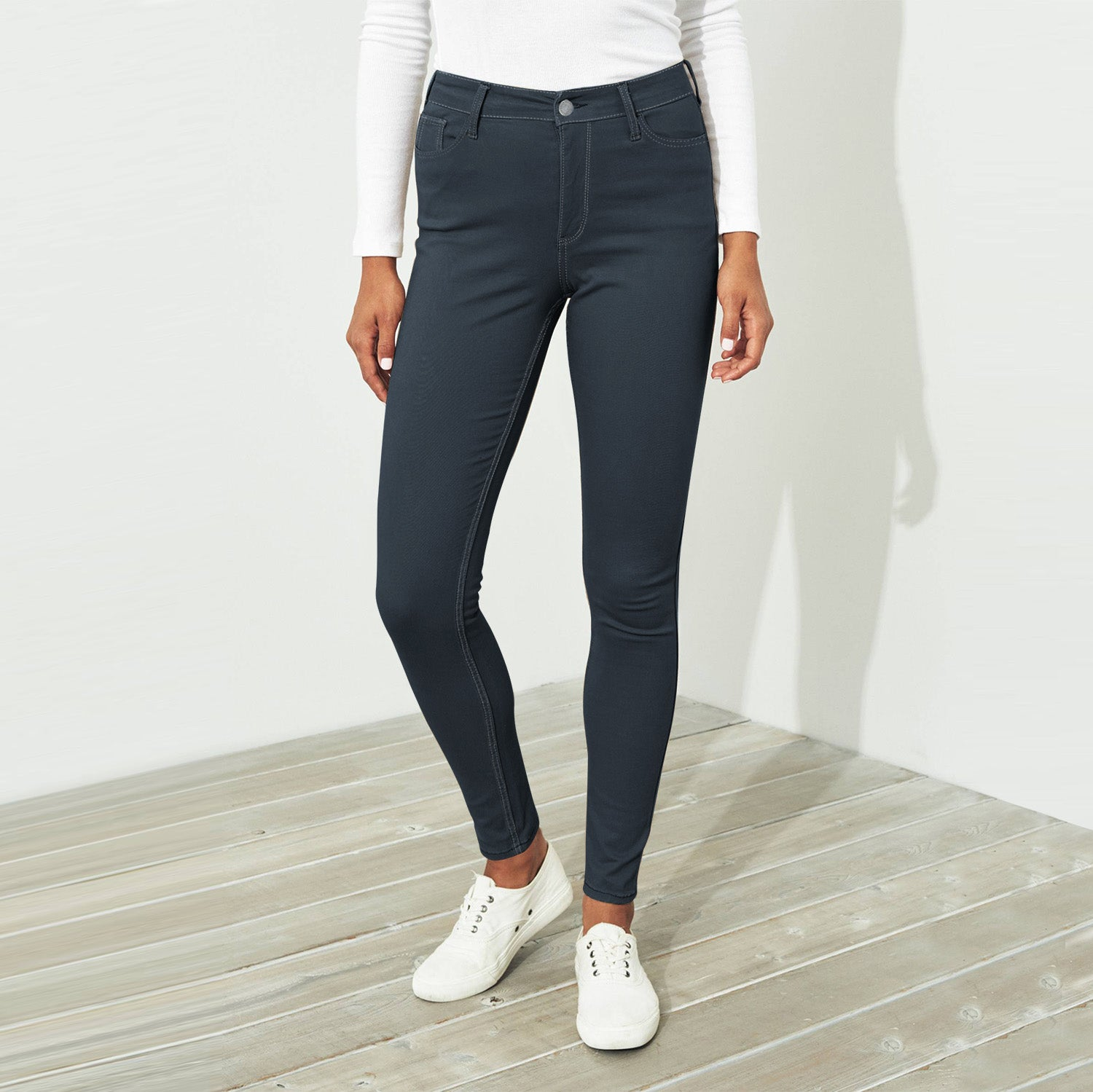 Amisu Zeen Slim Fit Stretch Denim For Ladies-Slate Blue-BE11586