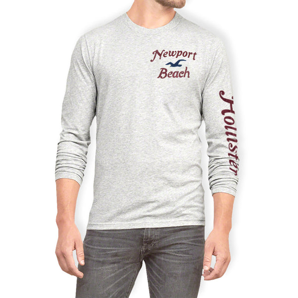 "Men's ""Hollister"" Long Sleeves Fashion Crew Neck - Light Grey (HS206)"