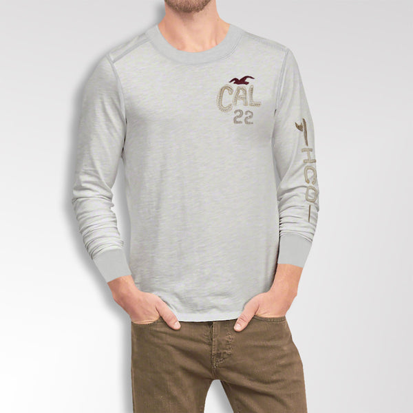 "Men's ""Hollister"" Long Sleeves Fashion Crew Neck With Aplic - Light Grey (HS208)"