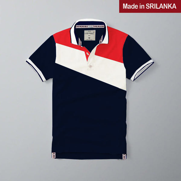Mens Louis Vicaci Milano Muscel Fit Dark Navy-White & Red Rugby Polo Shirts -RP53