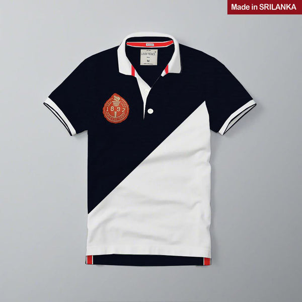Mens Louis Vicaci Milano Muscel Fit Navy-White  Rughby Polo Shirts-RP07