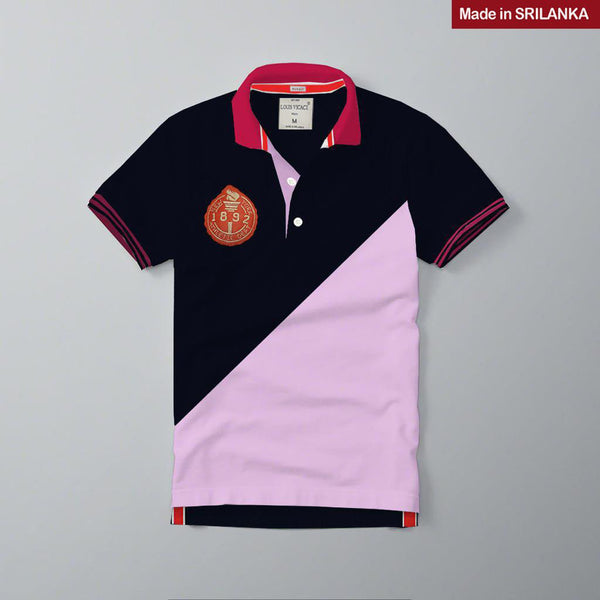 Mens Louis Vicaci Milano Muscel Fit Navy-Baby Pink  Rughby Polo Shirts-RP09