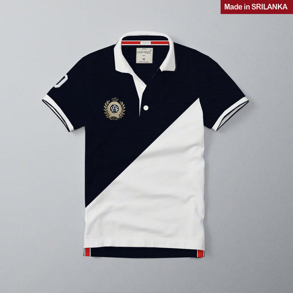 Mens Louis Vicaci Milano Muscel Fit Dark Navy-White Rugby Polo Shirts-RP16