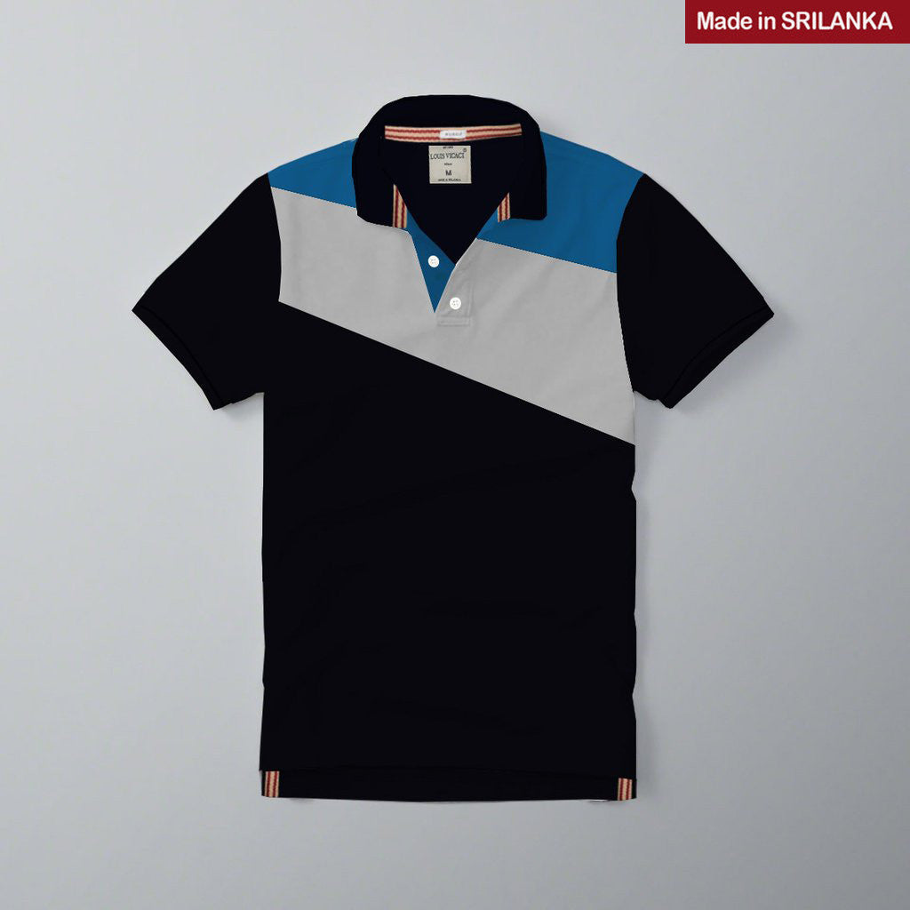 Mens Louis Vicaci Milano Muscel Fit Dark Navy-Royal Blue & Gray Rugby Polo Shirts -RP20