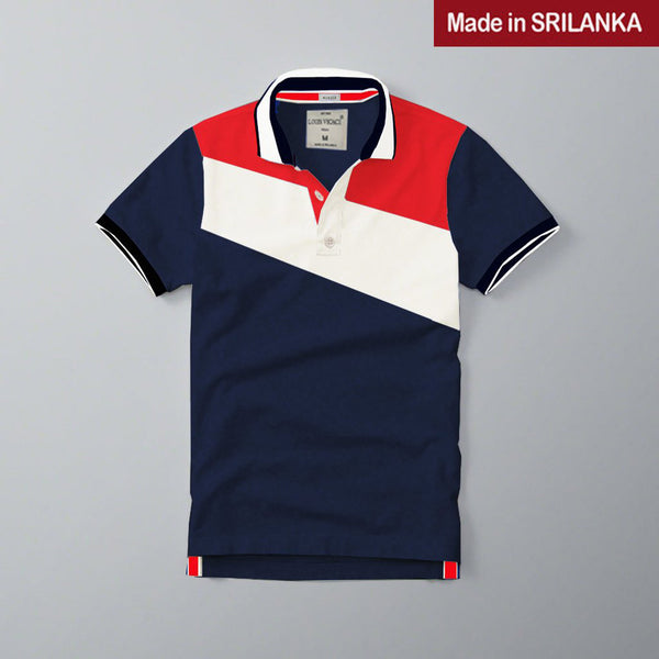 Mens Louis Vicaci Milano Muscel Fit Navy-White & Red Rughby Polo Shirts-RP02