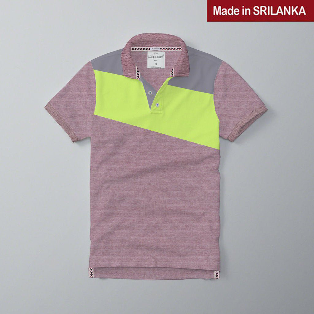 Mens Louis Vicaci Milano Muscel Fit Carmine-Lime & Light Gray Rugby Polo Shirts -RP46