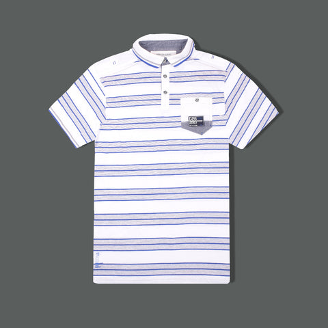 Men's Cut Label Fat Face Stylish Polo Shirt-Blue Gray White -FF27