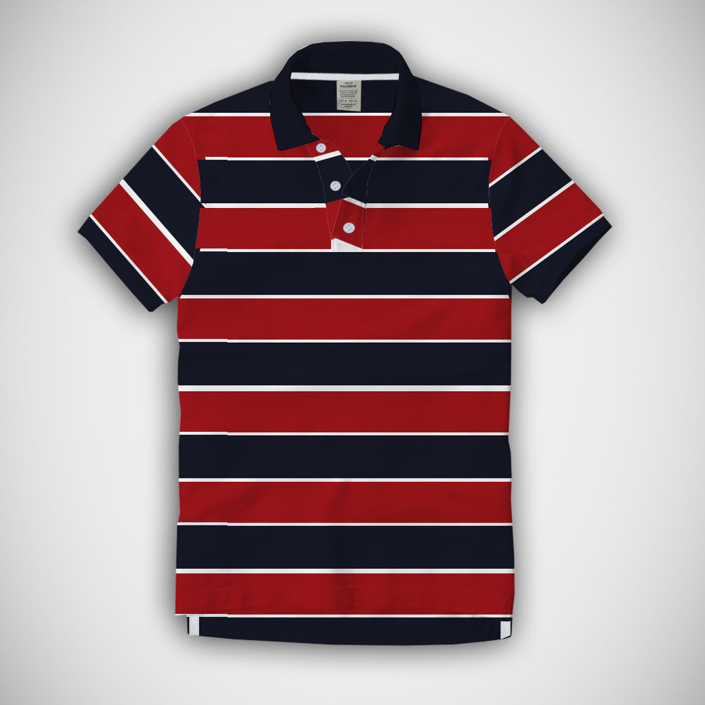 Men's Pull & Bear Navy-White-Red Striper Polo - PB02