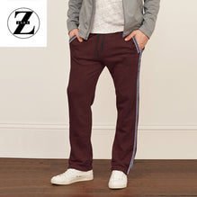 Zara Man Single Jersey Trouser For Men-Burgundy With Dark Navy Stripes-BE2752