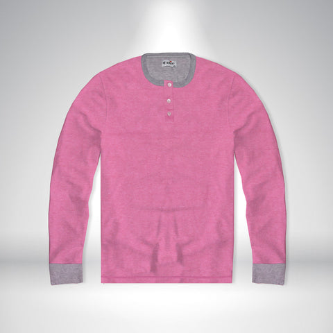Ladies Blouse ARIS Stylish Full Sleeve Henley-Pink & Gray Cuff Ribbed-BE870