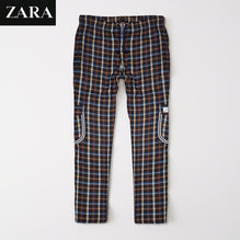 Zara Man 6 Pocket Cotton Check Trouser For Men-Multi Lining-BE2444