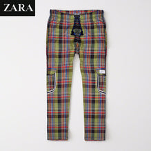 Zara Man 6 Pocket Cotton Check Trouser For Men-Black & Parrot-BE2441