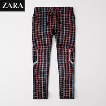 Zara Man 6 Pocket Cotton Check Trouser For Men-Black & Multi Lining-BE2498
