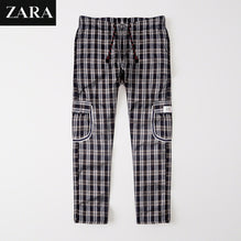 Zara Man 6 Pocket Cotton Check Trouser For Men-Black & Gray Lining-BE2499