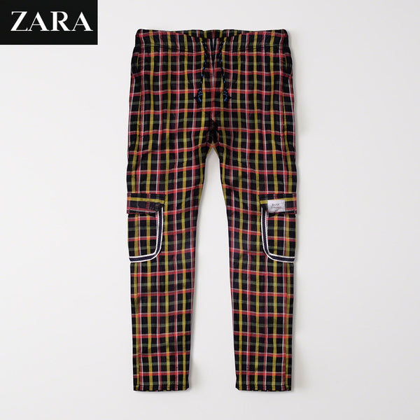 Zara Man 6 Pocket Cotton Check Trouser For Men-Black & Multi Lining-BE2500