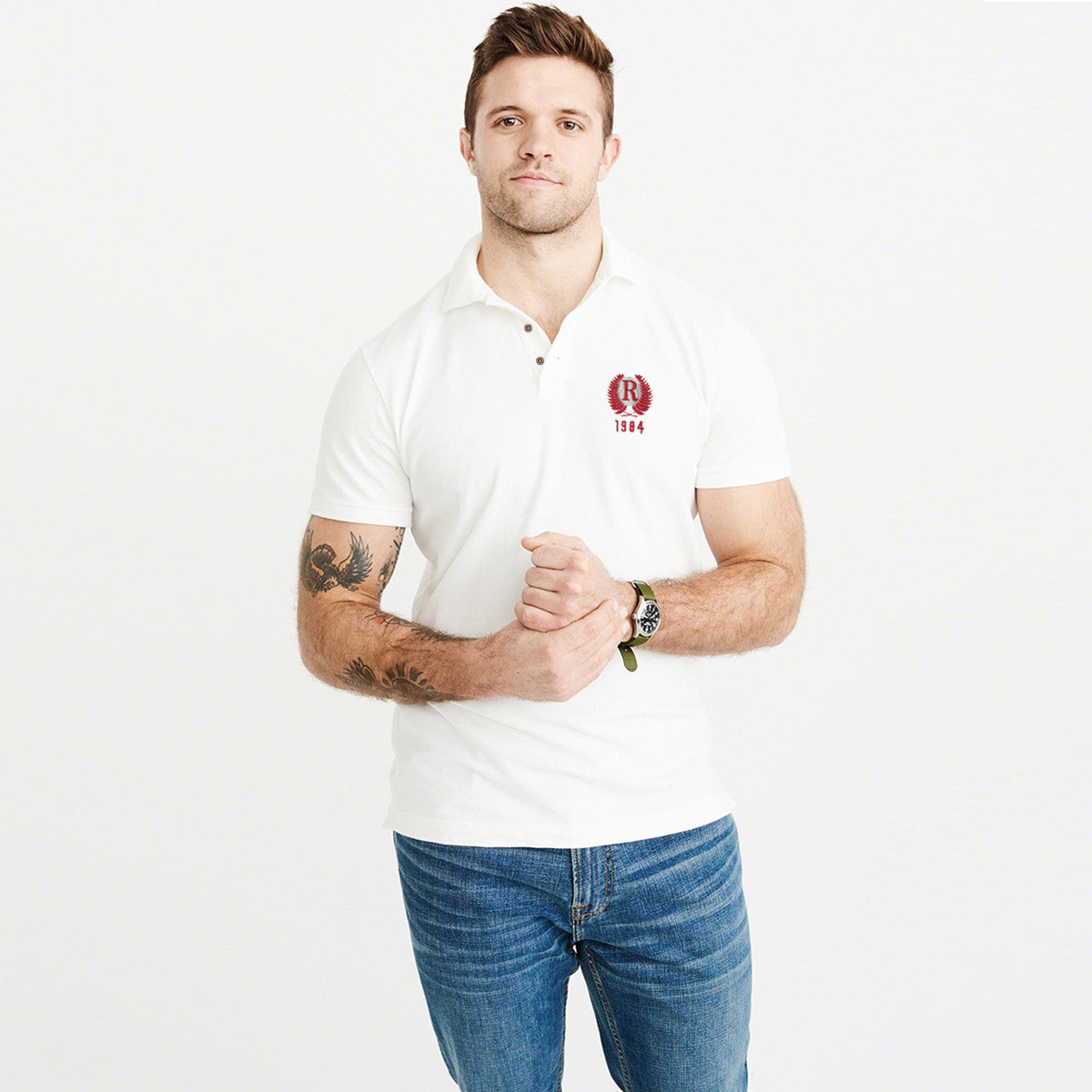 Fat Face Polo Shirt For Men-Off White & Red Embroidery -BE2001