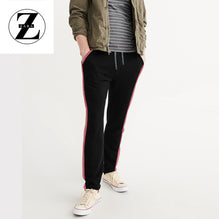 Zara Man Single Jersey Trouser For Men-Black With Dark Pink Stripes-BE2751